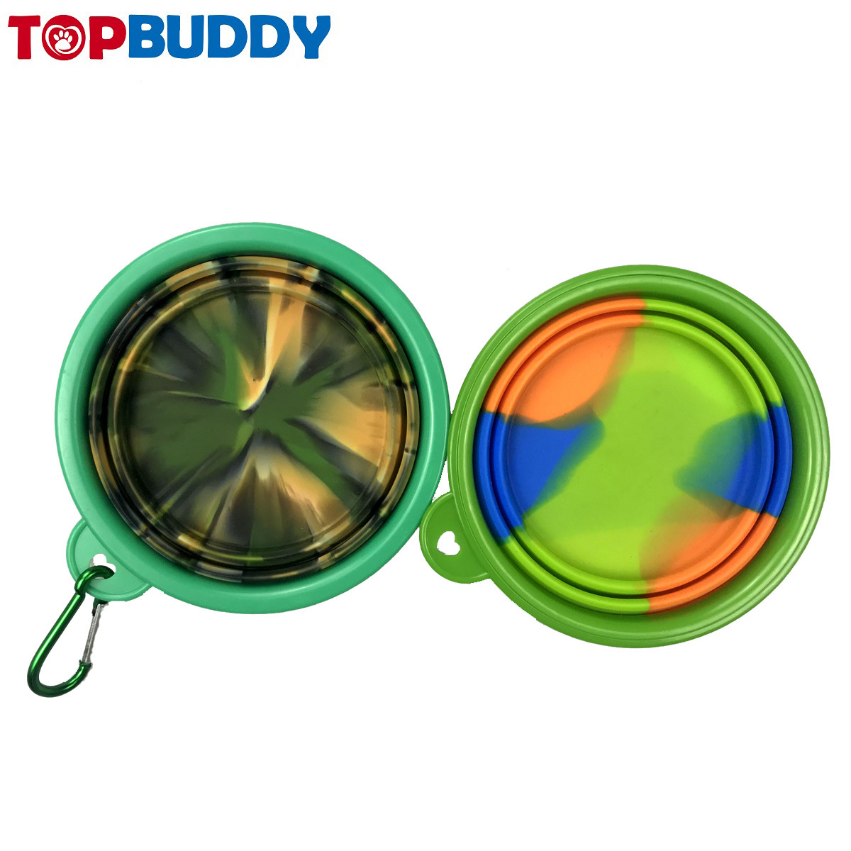 Portable Dog Bowl Environmentally Friendly Non-toxic Carabiner Pet Folding Environmentally Friendly Edible Silicon Folding Basin