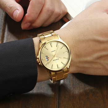 Relogios Masculino WWOOR Mens Watch Top Luxury Gold Quartz Calandar Clock Men Golden Stainless Steel Sport erkek kol saati - discount item  55% OFF Men's Watches