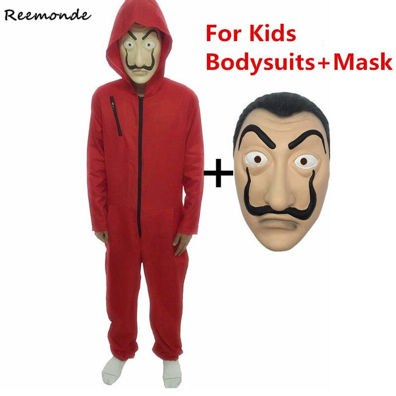 Filme Máscara de Salvador Dali Vermelho Bodysuits Cosplay Crianças Macacões Dinheiro Assalto La Casa de Papel Rosto Cosplay Máscara do Dia Das Bruxas Adulto
