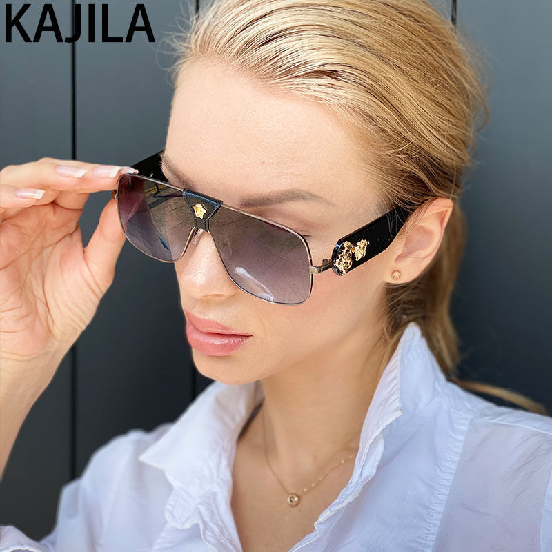 Oval Oversized Sunglasses Women With Leather Vintage Trending Eyewear Cool Shades Lady Sun Glasses For Women Lentes De Sol Mujer