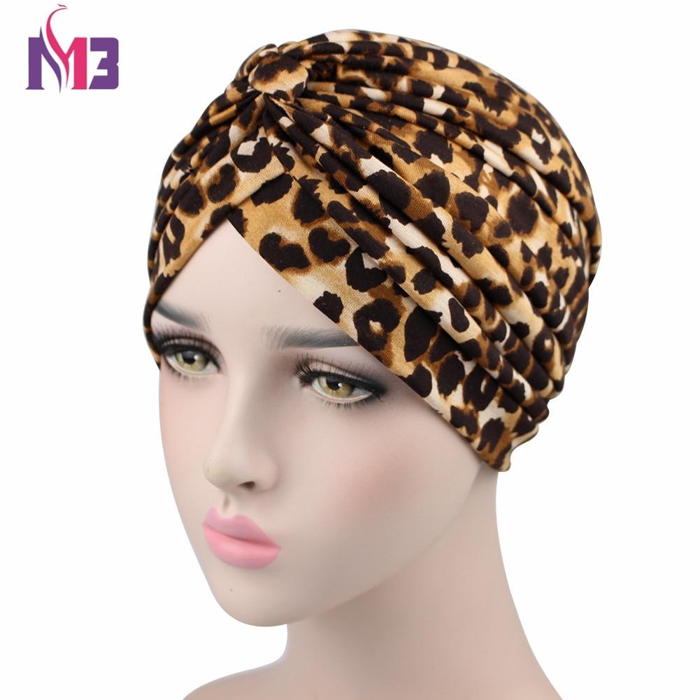 Cotton Women Floral Turban Leopard Print Bandanas Cancer Chemo Cap Head Wrap Hair Accessories Turban For Women