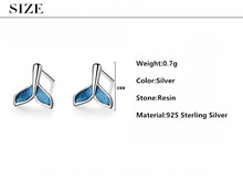 Sterling Silver Stud Elegant Blue Fish Tail Design Earring