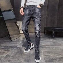 YASUGUOJI Nuovo 2019 Autunno Scarni Dei Jeans Degli Uomini di Roccia Streetwear Stretch Jeans Uomo Mens Nero Biker Jeans Slim Fit Jeans Uomo jean Homme
