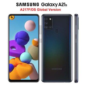 Перейти на Алиэкспресс и купить Мобильный телефон Samsung Galaxy A21s A217F/DS, глобальная версия, 4G, 4 Гб 64 ГБ, Восьмиядерный процессор, 6,5 дюйма, 5000 мАч, 4 камеры 48 МП, NFC, две SIM-карты, Android 10