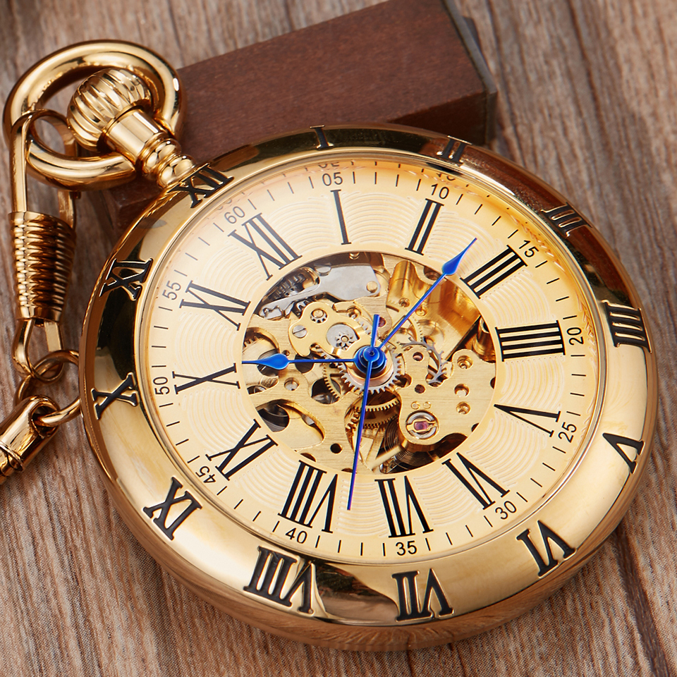 Retro Silver Gold Automatic Mechanical Pocket Watch Men Women Luxury Copper Watches Skeleton Steampunk FOB Watch Chain Pendants