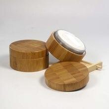 Caixa solta de bambu em pó com peneira vazia diy cosméticos compactos grades & coisas viagem maquiagem embalagem recipiente jar