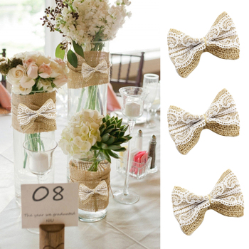 10pcs/Pack wedding decoration Natural Jute DIY Ribbon Bow Knot Burlap Hessian Flower Party Burlap Scrap-booking Lace Craft