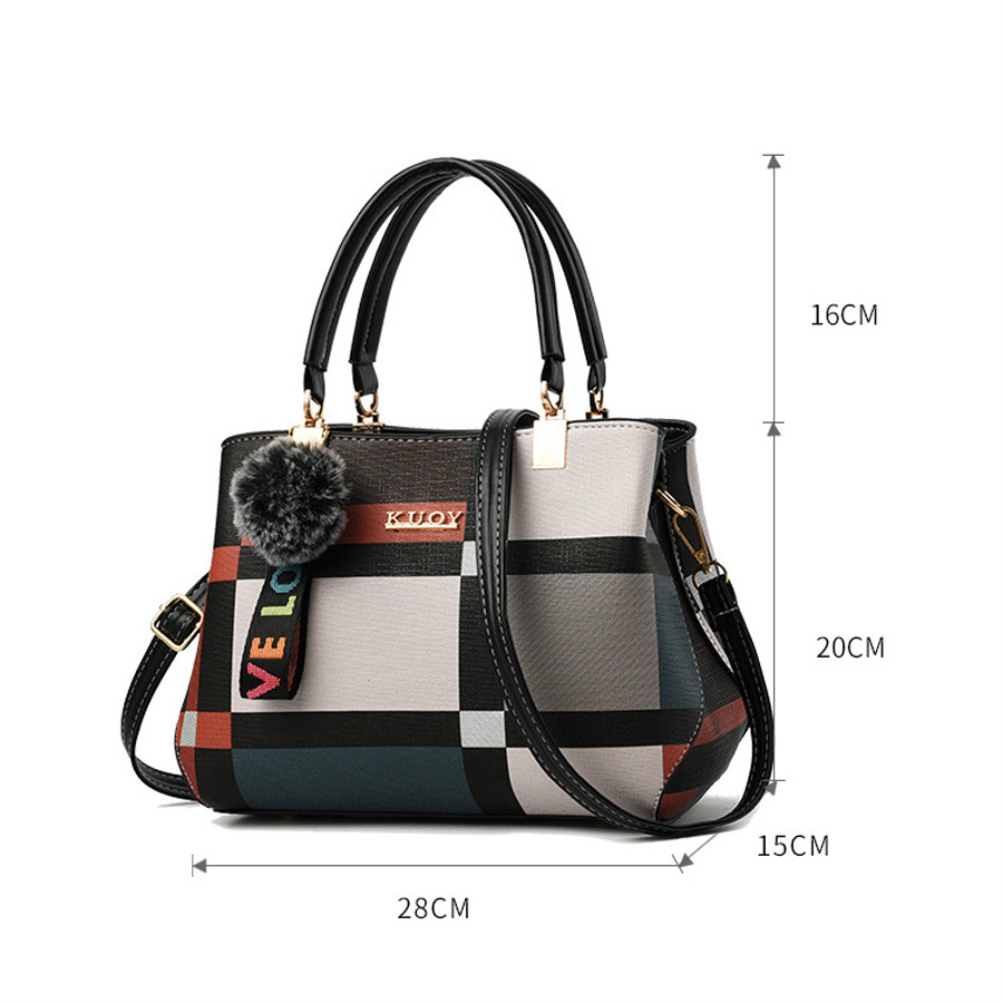 Image 2 - Hot 2020 New Casual Plaid Shoulder Bag Fashion Stitching Wild Messenger Brand Female Totes Crossbody Bags Women Leather HandbagsShoulder Bags   -