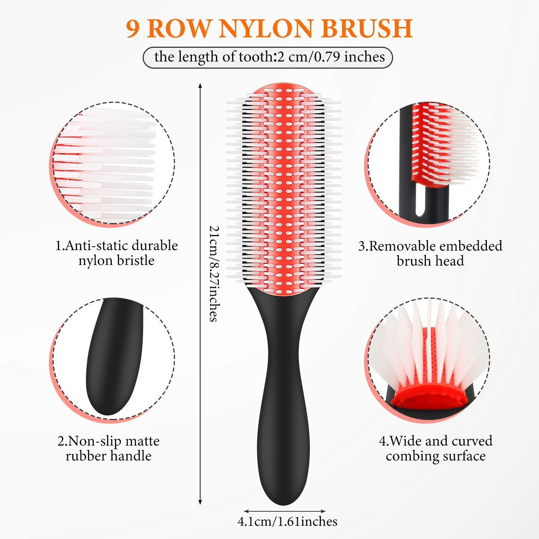 YBLNTEK Detangling Hair Brush Detangler 9Row Cushion Nylon Bristle Edge Brush Rat Tail Comb for 3a