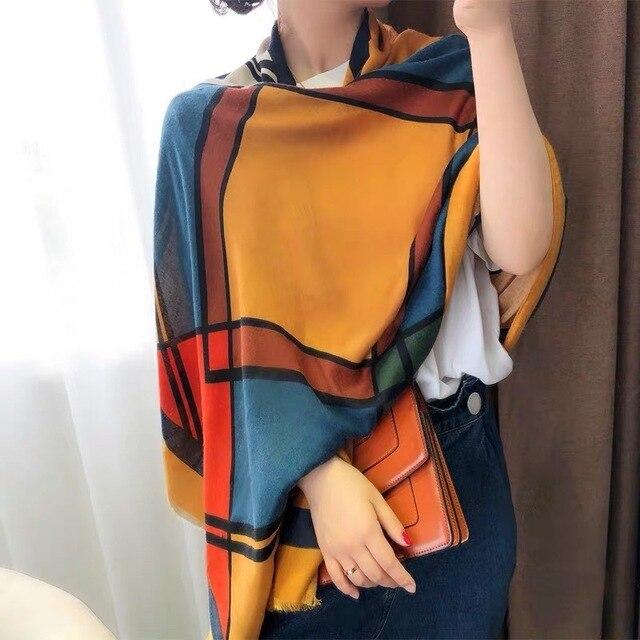 New 2020 Hijab Scarves Femme Fashion Plaid Print Cotton Scarf Women Luxury Brand Winter Shawl Bandana Foulard Pashmina Poncho 2