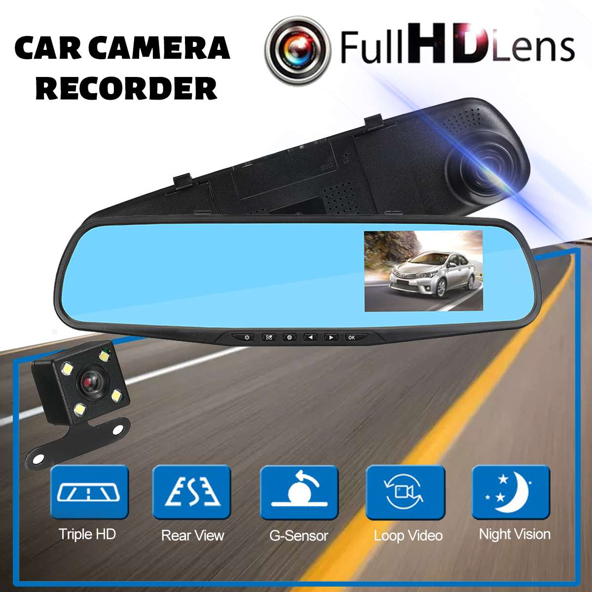 Car DVR Camcorder Camera Rearview-Mirror Digital-Video-Recorder Automobile Dual-Lens title=