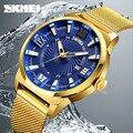 Хит продаж мужские золотые часы из нержавеющей стали с сетчатым ремешком деловые часы SKMEI роскошные мужские спортивные часы кварцевые нару...