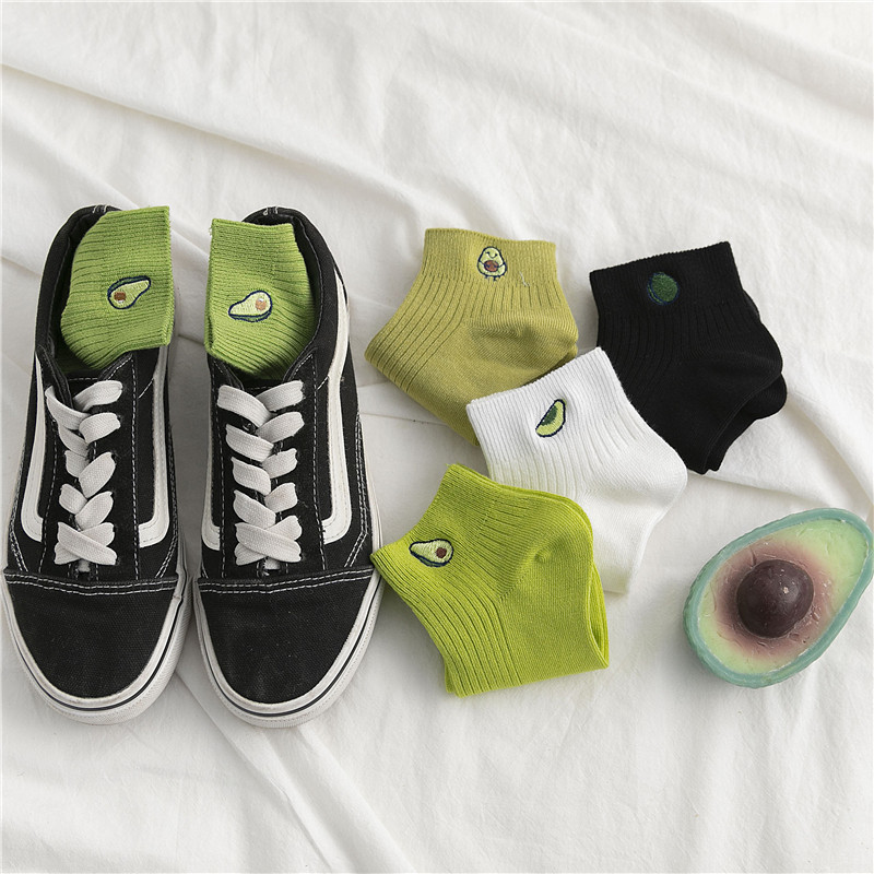 Women Solid Avocado Embroidery Socks Casual Joker Cotton Short Socks For Ladies Concise College Style Breathable