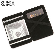 CUIKCA  Magic Wallet Thread Unisex Purse Money Clip Elastic Band Slim Leather Business ID Credit Card Case