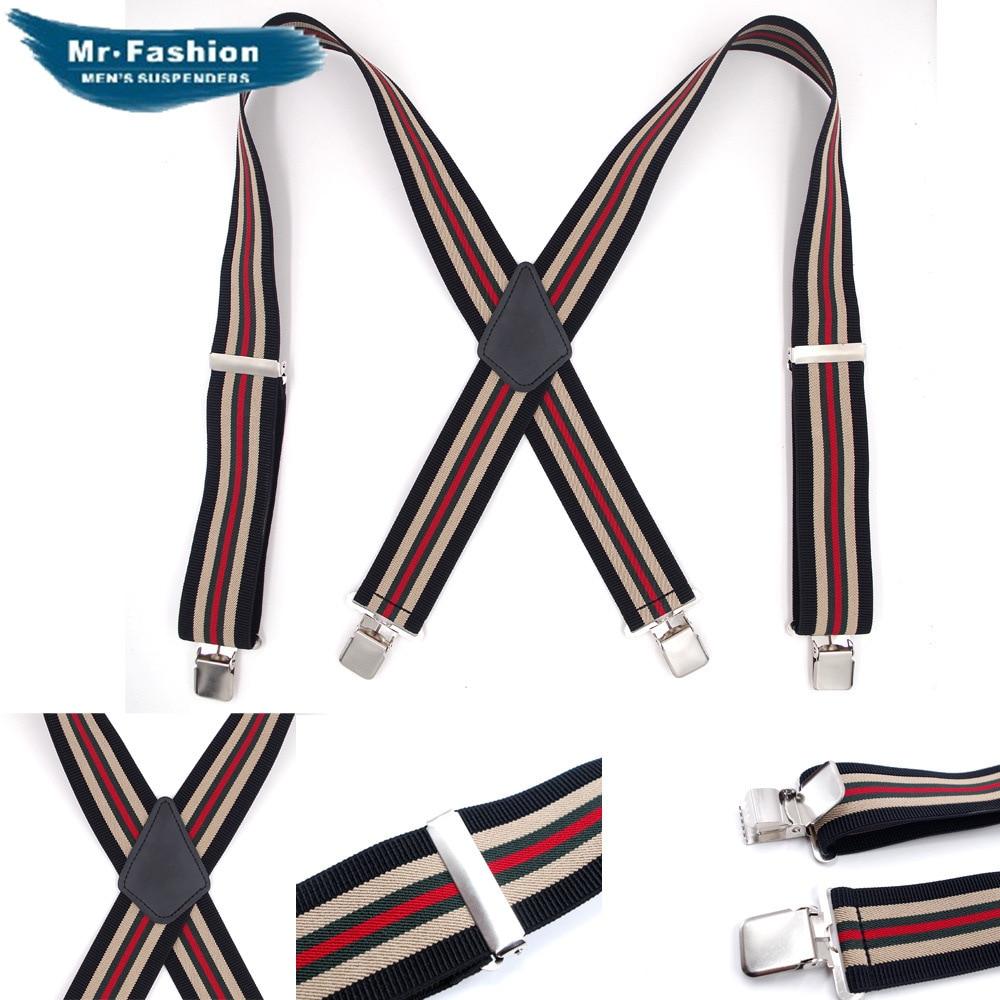 Adult Men's Long Four-clip Strap 5CM Striped Pants Shoulder Strap Elastic Elastic Trousers Suspenders