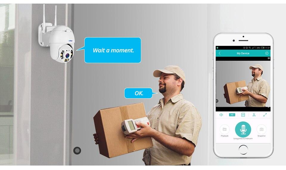 Hf74314b8f0c04256979c43edc81e5b30C KERUI Outdoor Waterproof Wireless 1080P 2MP PTZ WiFi IP Camera Speed Dome Camera H.264+ IR Home Security CCTV Surveillance