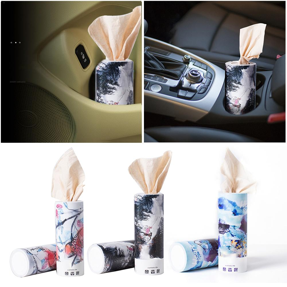 Tissue Car Tissue Box Cup Holder Cylindrical Tissue Storage Box Set 3-layer Disposable Car Supplies Armrest Box Tissue