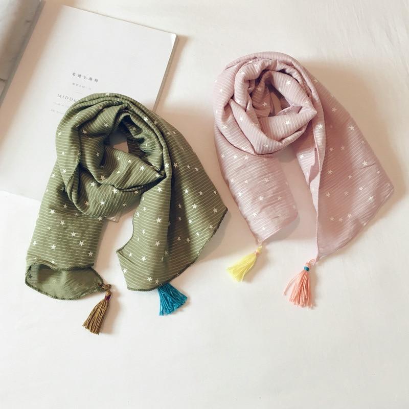 Korean Cotton Linen Print Star Tassel Soft Warm Autumn Winter Thin Kids Children Boys Girls Shawls Wraps Scarves Accessories-LHC