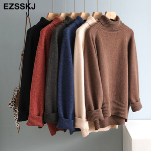 casual thick big Autumn Winter high-neck oversize Sweater Pullover Women warm chic female loose cashmere Basic wool Sweaters