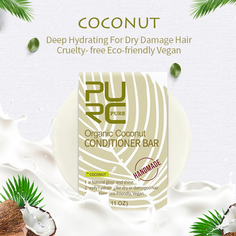 Organic Coconut Conditioner Shampoo Bar Smooth Repair Damage Frizzy Hair Conditioner Soft Hair Soap Handmade Hair Care image