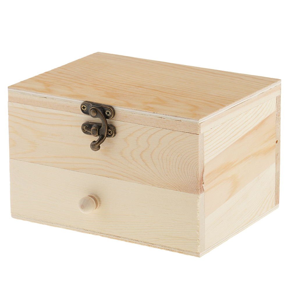 Wooden Jewelry Box Organizer 2 Layers Jewelry Case For Earring Ring Necklace Bracelet - PU Leather Storage Box With Lock
