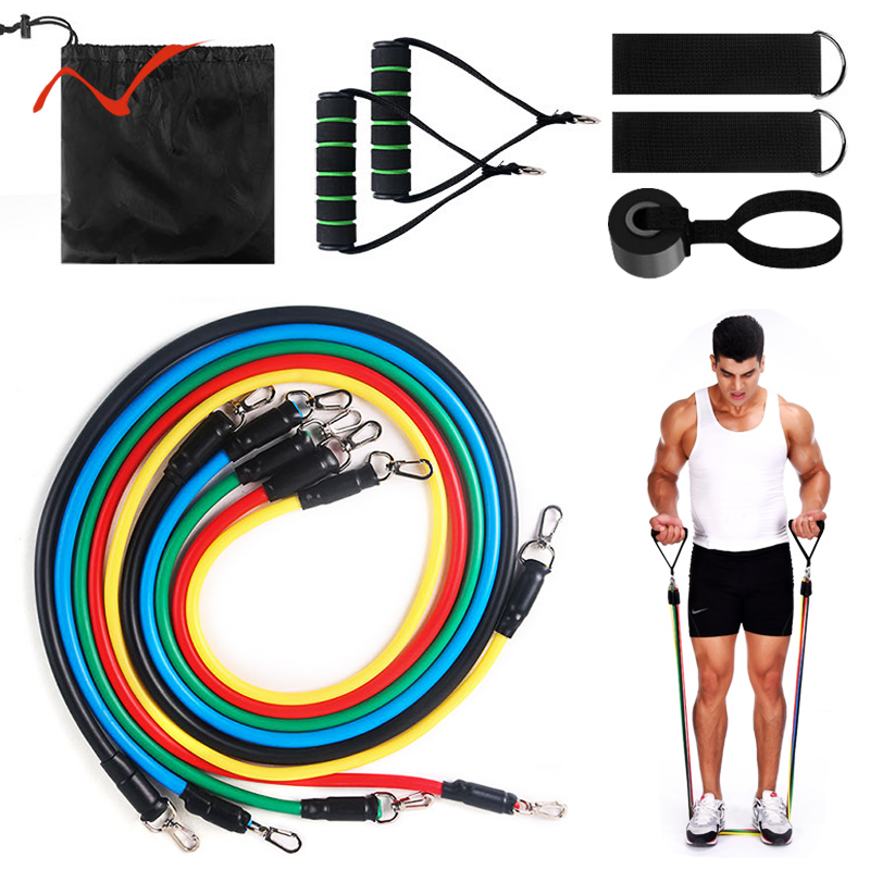 ALI Standard Free Shipping 17Pcs Resistance Bands Set Expander Exercise Fitness Rubber Band Stretch Training Home Gyms Workout
