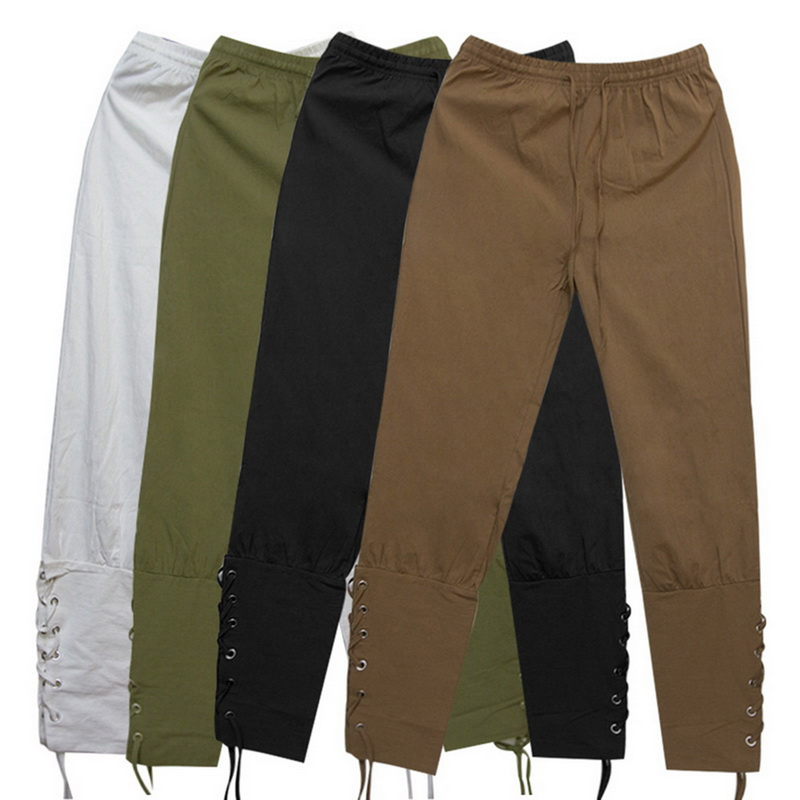 2019 Men Retro Medieval Costume Lace-Up Bandage Pants Larp Capris Trousers Vintage Cotton Joggers For Men Quick Dry Casual 3XL