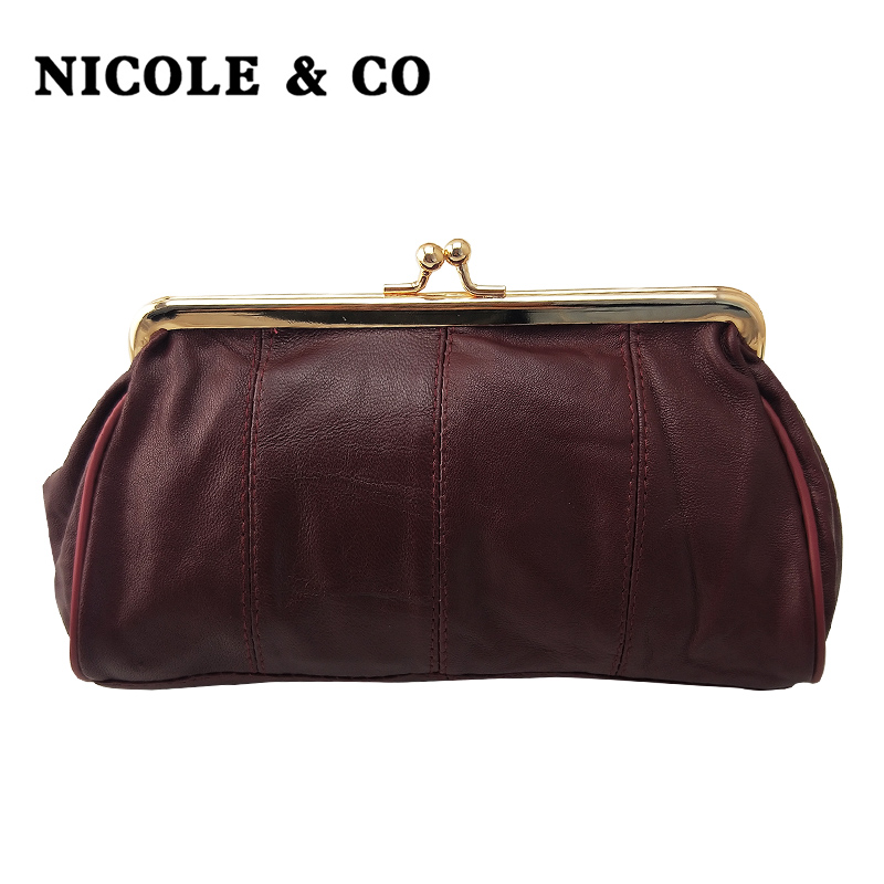 NICOLE & CO Women Coin Purse Genuine Leather Card Package Holder Wallet Metal Frame Original Small Change Purse Phone  Bag  New