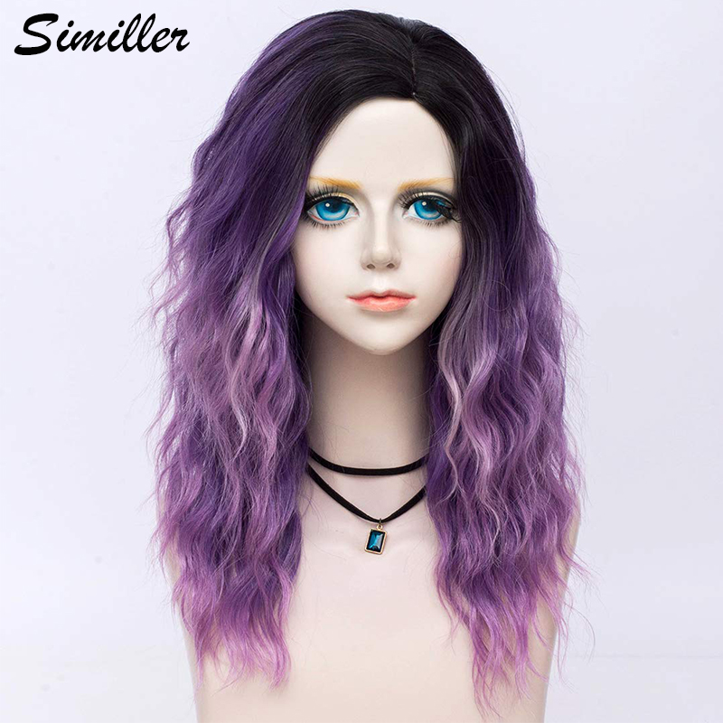 Similler Short Dark Rooted Ombre Purple Synthetic Wig Goth Punk Women Curly Bob Hair Replacement Wigs