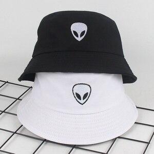 Unisex Embroidered Alien Foldable Bucket Hat Beach Sun Hat Street Headwear Fisherman outdoor Cap men and woman Hip Hop Caps(China)