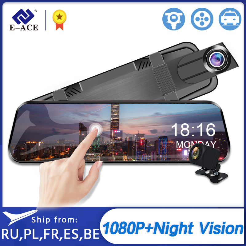 E-ACE Car Dvr 10 Inch Touch Screen Video Recorder Auto Registrar Stream Mirror With RearView Camera night vision dash cam(China)