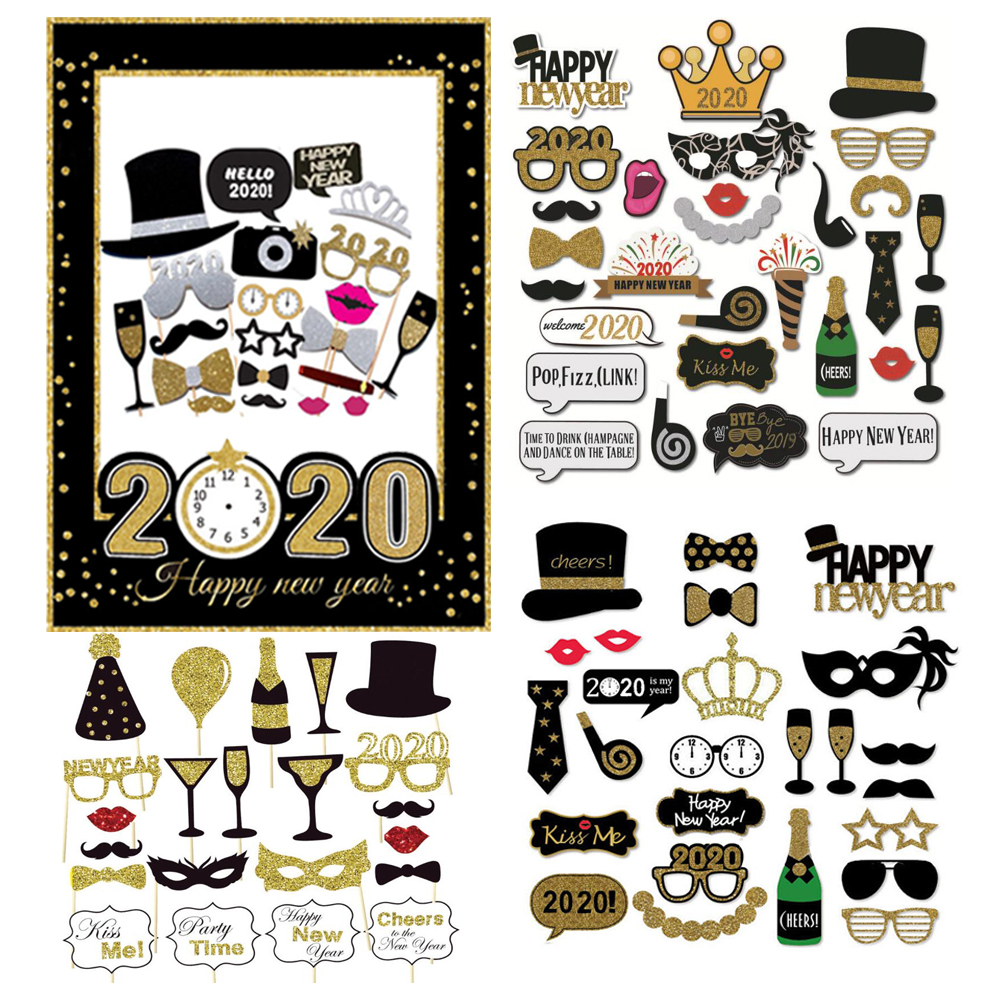 1Set Happy New Year Paper Photo Booth Props Frame 2020 Funny Mask Photobooth Happy New Year Balloon Party Decoration Supplies