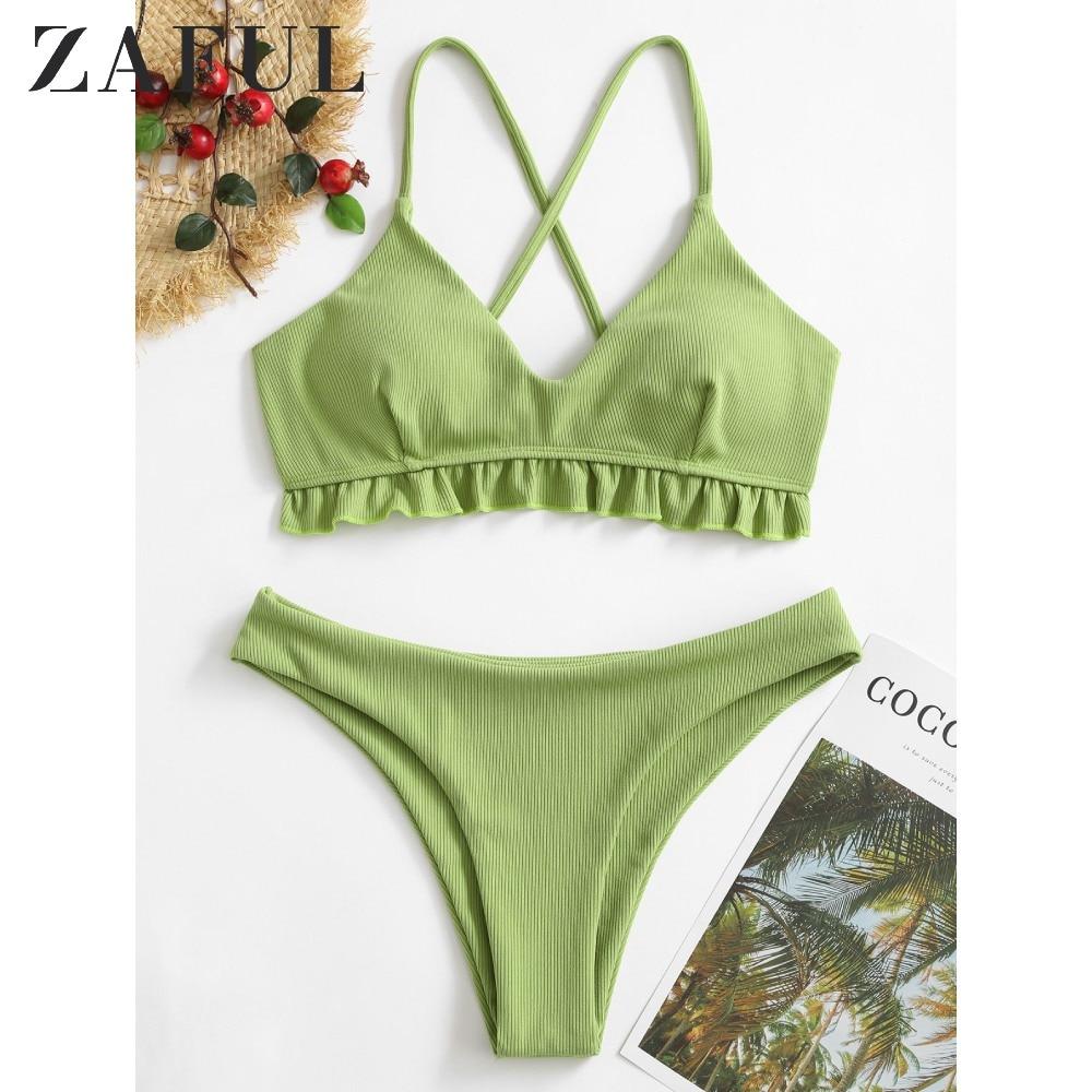 ZAFUL Swimwears Ruffled Crisscross Ribbed Bikini Swimsuit Women Solid Spaghetti Straps Bathing Suit 2020 New Push Up Bikinis Set