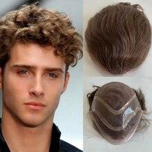 Perruque Lace Front wig 100% naturelle, cheveux humains, brun moyen, Mono Base, système de remplacement, toupet, PU, ferme, naissance des cheveux naturelle, #6