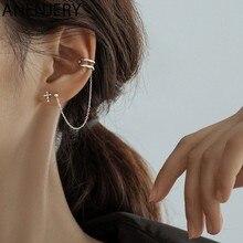 ANENJERY narin 925 ayar gümüş asimetrik çapraz saplama kulak kemik hattı küpe kadınlar erkekler için Hip Hop parti takı S-E1317