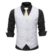 2019 New Arrival Jacquard Dress Vests Slim Fit Mens Suit Vest Male Waistcoat Gilet Homme Casual Sleeveless Formal Business Vest
