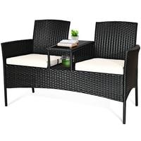 Terrasse Rattan Set Sofa Gepolsterten Sofa Glas Tisch Stühle HW63234 auf