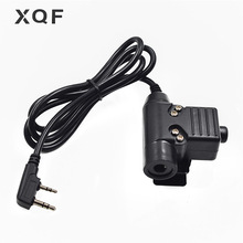 XQF U94 PTT Tactical Headset PTT Cable for Walkie Talkie Kenwood Baofeng UV 5R GT 3TP UV B5 RT 5R BF 888S TYT MD 380 Ham Radio