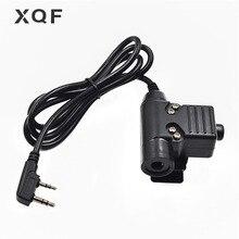 Xqf u94 ptt cabo tático de headset, cabo ptt para walkie talkie kenwood baofeng uv 5r GT 3TP UV B5 RT 5R bf 888s rádio tyt MD 380 ham