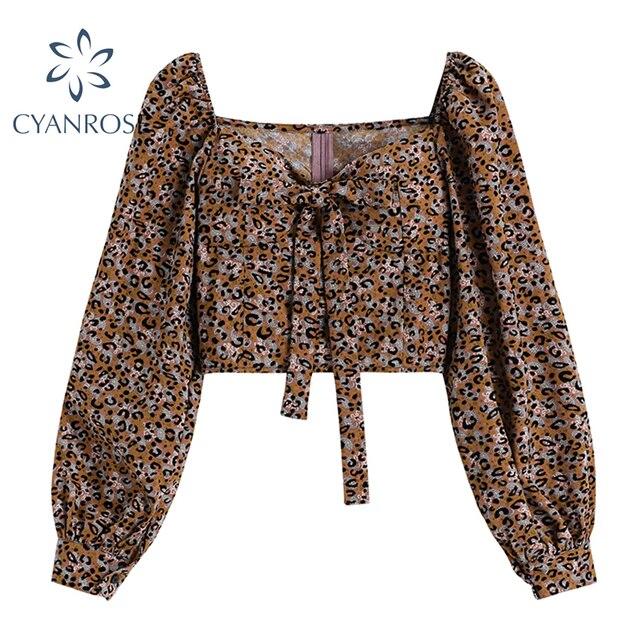 Beach Crop Blouse For Ladies Fashion Square Collar Long Sleeve Bownot Shirt Women Leopard Korean Chic Retro Street Blusas Tops 1