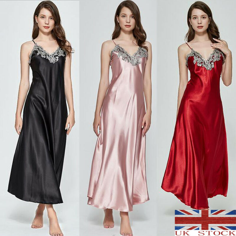 Women Satin Silk Lace V-neck Spaghetti Strap Night Dress Nightdress Sleepwear Ladies Long Nightgown