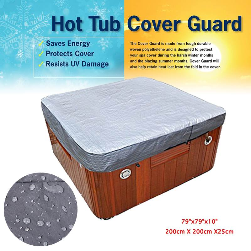 Universal Hot Tub Spa Cover All-Weather Spa Cover Cap Guard Waterproof Silver Jacket Bag Protector 200X200X25cm Protect Large
