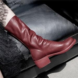 Image 3 - Buono Scarpe Genuine Leather Pleated Fashion Boots Brand Designed Zipper Boots Chunky Botas Fenimina Leather Shoes Zapatos Mujer