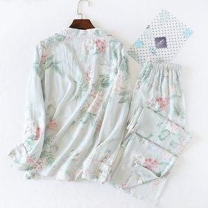 Image 4 - Julysong s canção feminina algodão pijamas conjunto floral impresso 2 peças sleepwear simples macio mangas compridas feminino outono inverno homewear