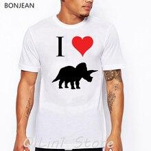 I love Jurassic park dinosaur animal t-shirt men graphic tees funny t shirts camisetas masculina harajuku ulzzang shirt homme