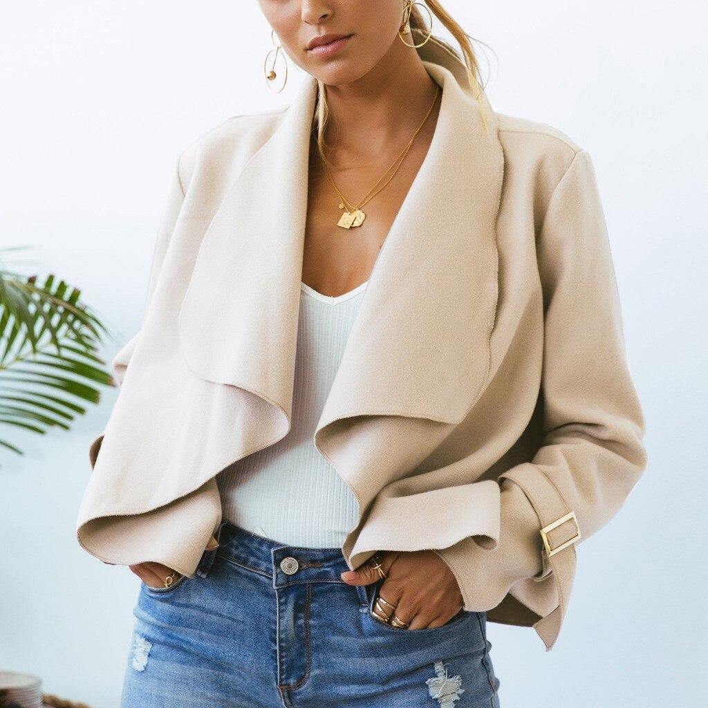 2020 Autumn Women Black Slim Cool Office Lady Long Sleeve Ruffle Jackets Sweet Female Formal Coats Femme Outwear Coat Plus Size
