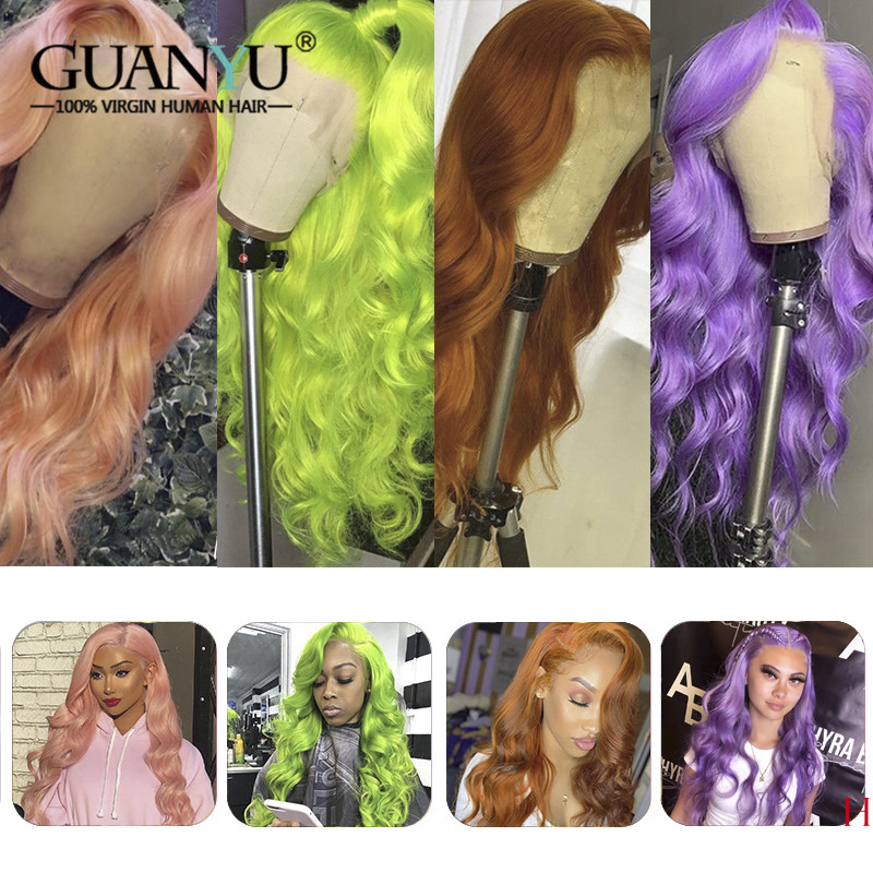 13X4/6 Pink Lace Front Wig Human Hair 150 Density Brazilian Remy Ombre Blonde 613 Red Green Blue Purple Orange Colored Wig image