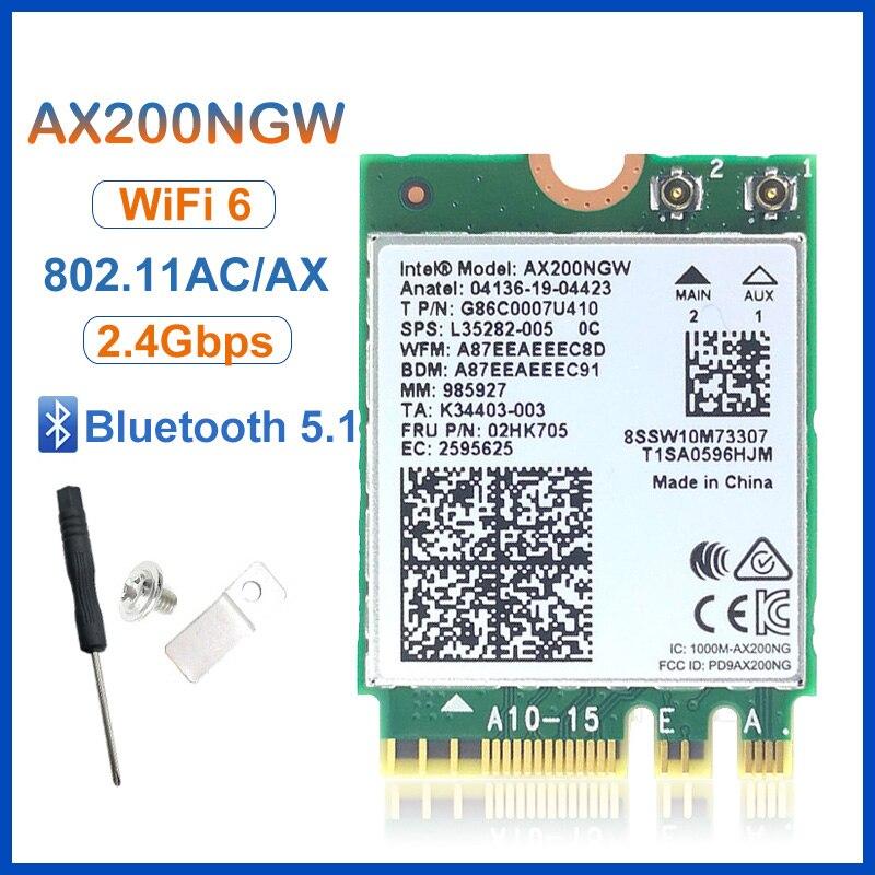 Беспроводной доступ M.2 Wifi 6 Intel AX200 2974 Мбит/с Bluetooth 5,1 Wlan 802.11ax MU-MIMO NGFF ноутук Wi-Fi карта AX200NGW