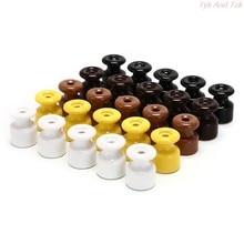 5 pçs/lote Isolador de Porcelana para Fiação Parede Isoladores Cerâmicos de Alta Freqüência Elétrica Isolador de Porcelana Cerâmica 5 Cores
