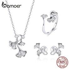 bamoer Silver 925 Design Ginkgo Leaf Adjustable Rings Necklace Stud Earrings Jewelry Sets 925 Sterling Silver Jewelry ZHS183